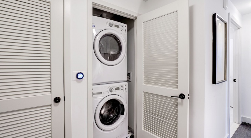 In-home GE® front-loading, stacked washers and dryers