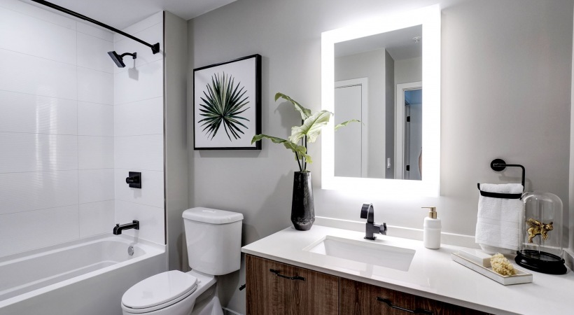 Delta Vero® Collection fixtures in bathrooms