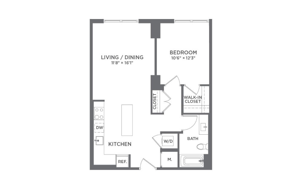 A1A - 1 bedroom floorplan layout with 1 bath and 711 square feet.