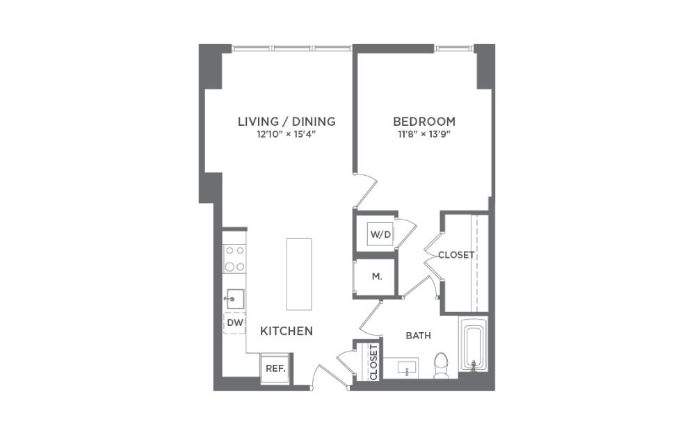 A2C - 1 bedroom floorplan layout with 1 bath and 732 square feet.