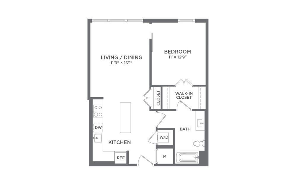 A3 - 1 bedroom floorplan layout with 1 bath and 715 square feet.