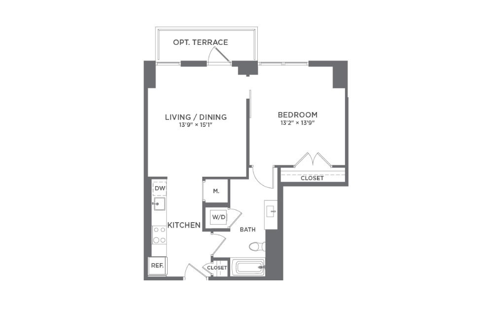 A4 - 1 bedroom floorplan layout with 1 bath and 716 square feet.