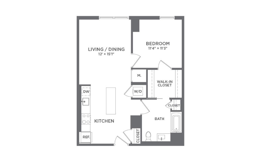 A6 - 1 bedroom floorplan layout with 1 bath and 719 square feet.