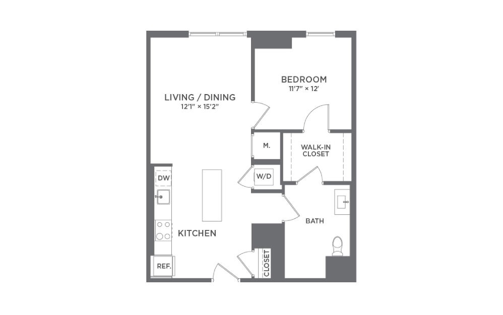 A5 - 1 bedroom floorplan layout with 1 bath and 719 square feet.