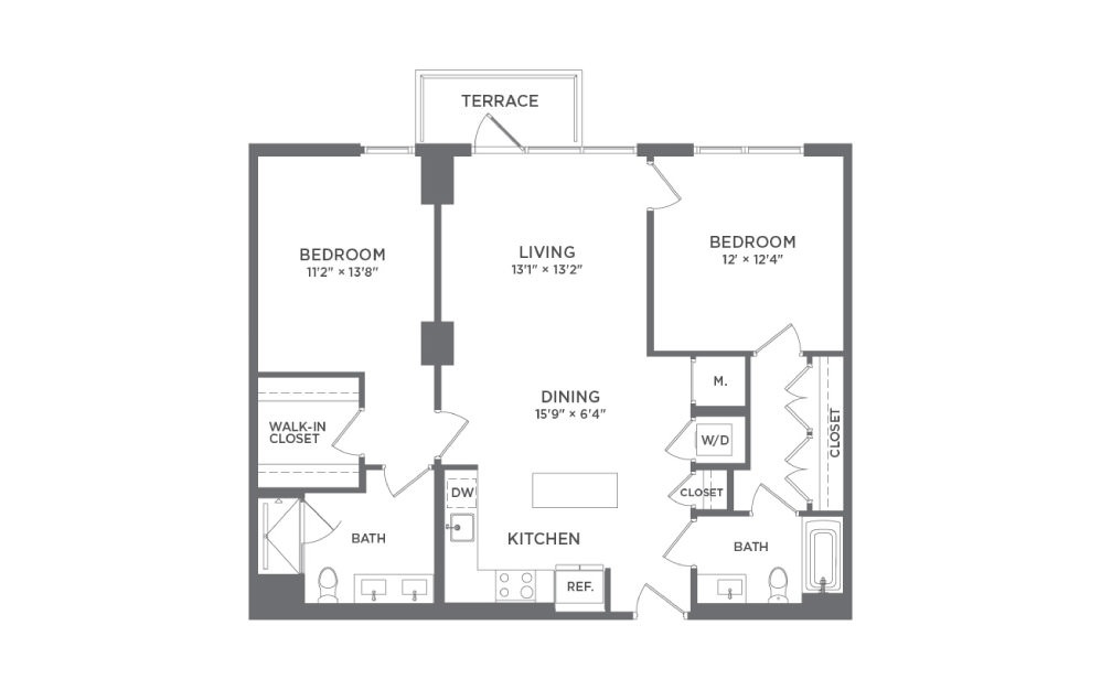 B2 - 2 bedroom floorplan layout with 2 baths and 1122 square feet.