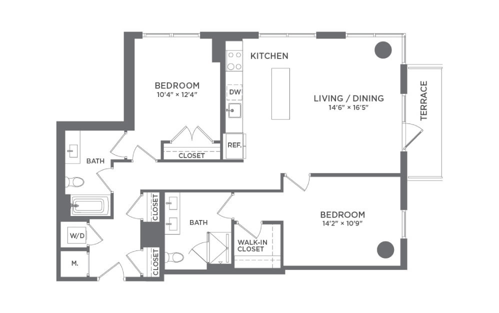 B3 - 2 bedroom floorplan layout with 2 baths and 1125 square feet.