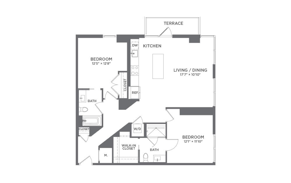 B5 - 2 bedroom floorplan layout with 2 baths and 1133 square feet.