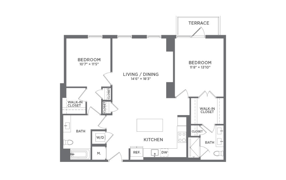 B6 - 2 bedroom floorplan layout with 2 baths and 1151 square feet.