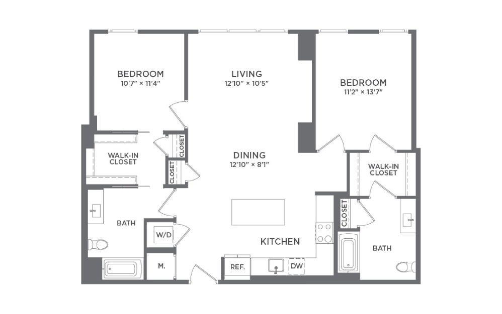 B6B - 2 bedroom floorplan layout with 2 baths and 1152 square feet.
