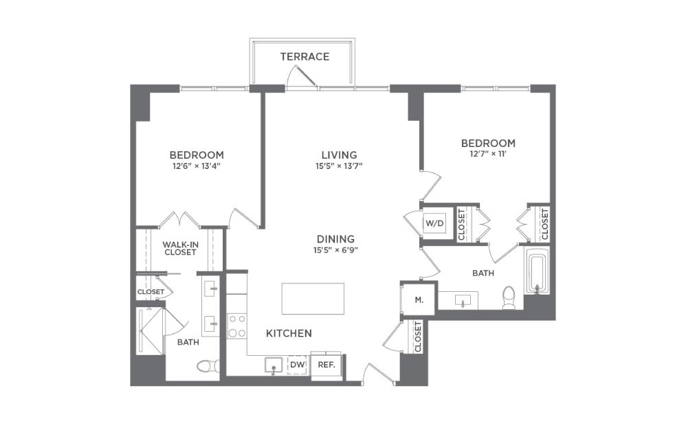 B7 - 2 bedroom floorplan layout with 2 baths and 1165 square feet.