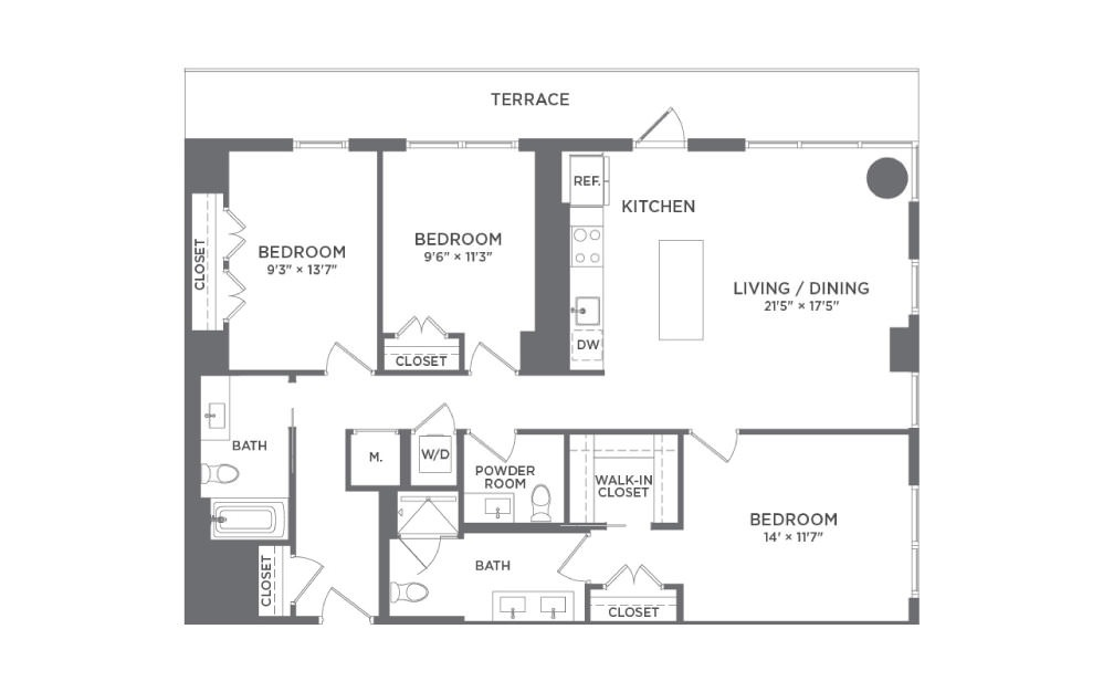 C1 - 3 bedroom floorplan layout with 2 baths and 1340 square feet.