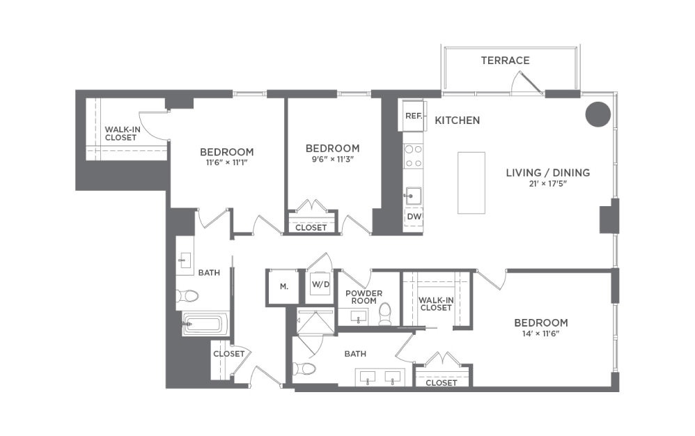 C1A - 3 bedroom floorplan layout with 2 baths and 1413 square feet.